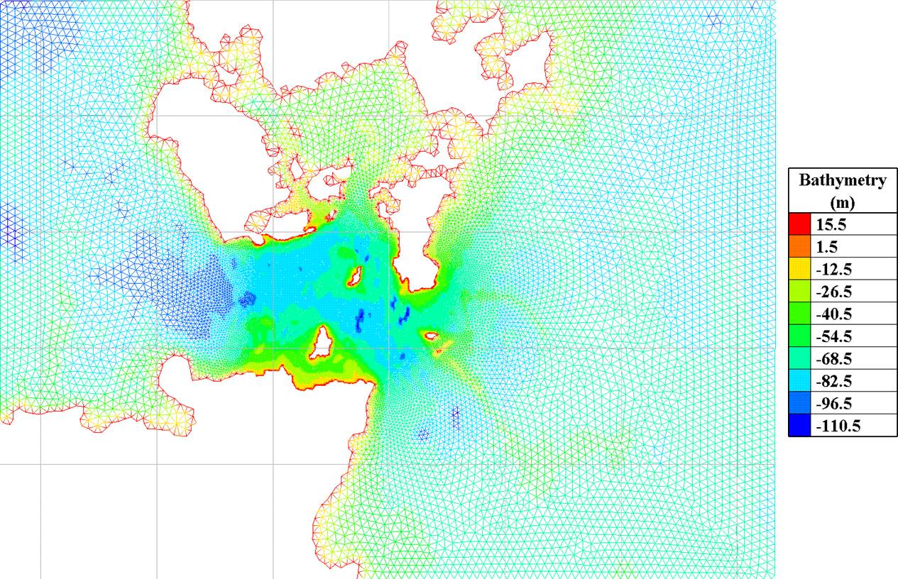 Tidal energy resource assessment bathymetry